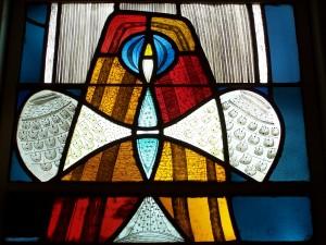 st. luke's stained glass bird