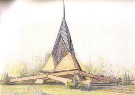trinity chapel_FLW_norman_unbuilt_drawing rendering