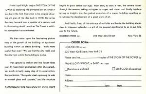 price tower book - dedication booklet - story of the tower 2 - order form