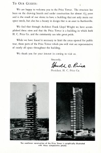 price tower book - dedication booklet - the price tower 2 - to our guests - harold c. price