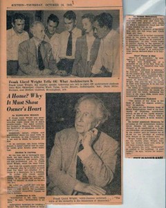 brauer flw ou visit newspaper article - tim brauer collection - charles ward