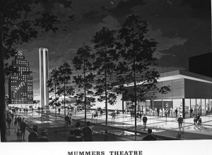 mummers theater stage center early rendering