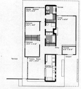 May 1955 floor plan of the home of Robert Wilson and Annette Anderson  in West Hills. The modest rancher is one of five Tennessee sites recently added to the National Register of Historic Places. Designed by architect Bruce McCarty, it was built as a demonstration house for a program sponsored by General Electric's Hotpoint brand.