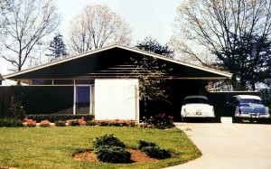 This is a 1955 photograph of the now home of Robert Wilson and Annette Anderson the year it was built. The modest rancher is one of five Tennessee sites recently added to the National Register of Historic Places. Designed by architect Bruce McCarty, it was built as a demonstration house for a program sponsored by General ElectricÕs Hotpoint brand. One of the most significant architectural features of the home is the cantilever design where the single central structure supports the entire roof.