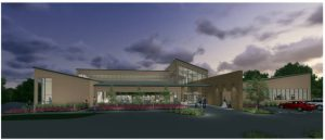 architectural rendering of proposed by Bethany library. A bond election is set for April 5.